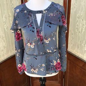 White House Black Market blue floral print blouse